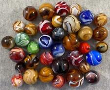 """Lot of 36 MINTY SLAG MARBLES 23 BIG SHOOTERS 5/8"""" to 1"""" M.F Christensen Akro CAC"""