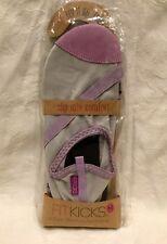 NWT FitKicks Size Medium (7-8) Gray Purple Active Lifestyle Flex FLATS Shoes