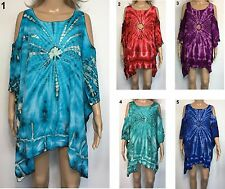 .LADIES casual Tie Dye Top Keyhole Sleeve OSFA Plus Larger Size 20 22 24 26 28