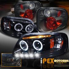 2001-2003 Ford F150 FlareSide SuperCrew Projector LED Black Headlight+Tail Light
