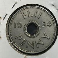1954 FIJI ONE PENNY HIGH GRADE COIN