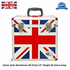 "1 UNION JACK Aluminium Storage DJ Flight Carry Case for 50 LP Vinyl 12"" Records"