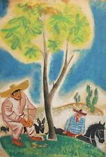 Vintage gouache painting mexicans portrait