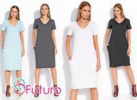 Womens Classic Midi Dress With Pockets Pencil Tunic V Neck Plus Sizes 8-18 FA494