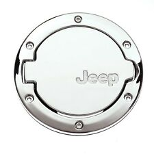 NEW CHROME Fuel Filler Gas Cap Cover Trims Door For Wrangler JEEP 2/4 Door 07-15