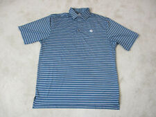 Footjoy Golf Polo Shirt Adult Large Blue White Striped Dri Fit Golfer Rugby A3