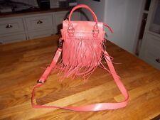Unisa peach orange leather long strap messenger shoulder bag, tassel decoration