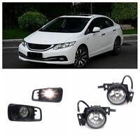 For 99-00 Honda Civic EK EM JDM Clear Bumper Fog Lights Kit + Switch H3 Bulb