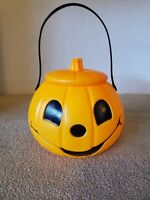 """Plastic Blow Mold Pumpkin Pail With Lid And Handle 7"""" X 6"""""""