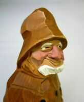 Vtg. Ely Hannah Hand Carved Wood Old Fisherman Capt. Painted Folk Art VG Cond.!