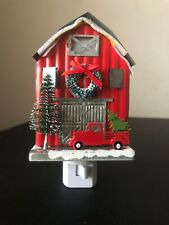 Red Barn Wax Cube Outlet Warmer W/ Vintage Red Truck Christmas Holiday Theme New