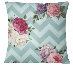 S4Sassy Dusty Green Pillow Case Zigzag & Floral Printed Cushion-MJp