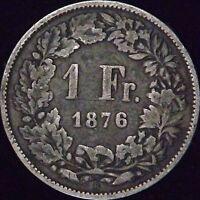 1876-B Switzerland Silver 1 Franc - KM# 24 - VG - HB