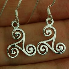Earrings, Solid Sterling Silver, ep164 Tiny Celtic Triskle Triple Spiral Silver