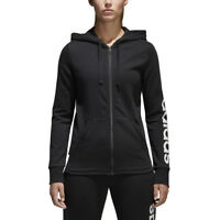 Women's Adidas Essentials Linear Full Zip Hoodie Black/White