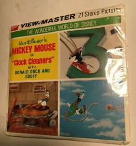 """1971 Disney MICKEY MOUSE """"Clock Cleaners"""" View-Master Packet B551 SEALED-3 Reels"""
