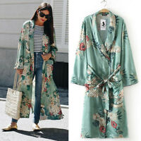 Women Ladies Long Maxi Cardigan Kimono Loose Shawl Trench Coat Summer 2019