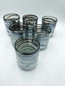 Hand Blown Mexican Glassware Chocolate Swirl - Set of 6