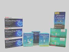 One Touch Ultra Blue Diabetic Test Strips 150 Bundle + Delica Lancets +Prep Pads