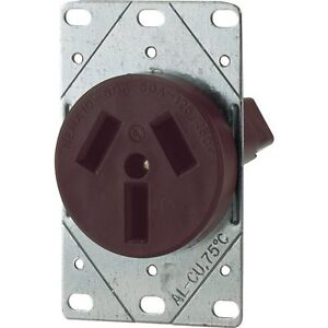 Eaton 32B 50-Amp Commercial and Industrial Power Receptacle with Box, Brown