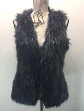 David Bitton Faux Fur Vest Navy Gray Women Winter Lined Small Winter