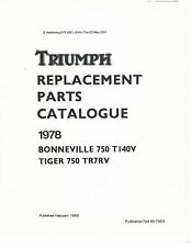 Triumph Parts Manual Book 1978 Bonneville 750 T140V & Tiger 750 TR7RV