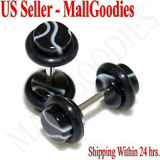 2019 Black Marble Fake Cheater Illusion Faux Ear Plugs 16G Bar 4G = 5mm - 2pcs