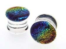 Dichro Pyrex Rainbow 0g 8MM PLUGS BODY JEWELRY PLUG GAUGES DOUBLE FLARED TUNNELS