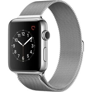 Apple Watch 42mm Series 2 with SS Case Silver Milanese Loop Band