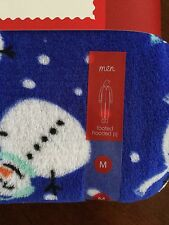 Men Snowman One Piece Footed Hooded Pajama NWT Size M Multi Color