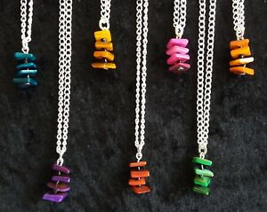 """LADIES SHELL STACK NECKLACE ON 18"""" SILVER TONE CHAIN  VARIOUS COLOURS NEW"""