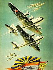 PROPAGANDA SOVIET UNION AIR FORCE PLANE FLAG ART POSTER PRINT LV7034