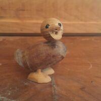 Vintage Hand Carved Wood Duck Figurine
