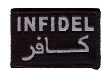 INFIDEL ARABIC REFLECTIVE TACTICAL ARMY MORALE CRUSADER COMBAT HOOK LOOP PATCH