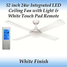 Rotor 52 inch LED Ceiling Fan in White and White Touch Pad Remote