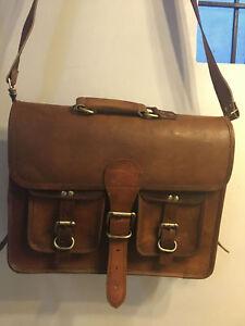 Vintage Messenger Satchel Leather Shoulder Business Laptop Office Bag Carry on