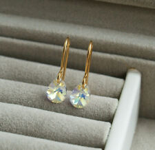 Small AB Swarovski Crystal Gold Drop Earrings - Sparkly Teardrop Dangle - UK