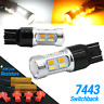 White Amber 7443 Dual Color Switchback LED Turn Signal Light Bulbs+Resistors