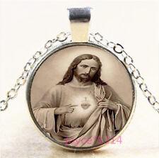 Christ Jesus Cabochon Silver/Bronze/Black/Gold Glass Chain Pendant Necklace#6961