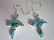 Sterling Silver Earrings  Cross hook style 925 soild silver Turquoise