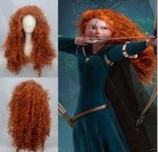 Disney Pixar Animated movie of Brave MERIDA cosplay Long curly orange wigs