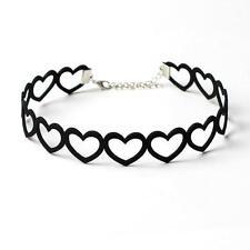 Women Girls Black Velvet Hollow Love Heart Choker Chain Necklace Gothic Jewelry