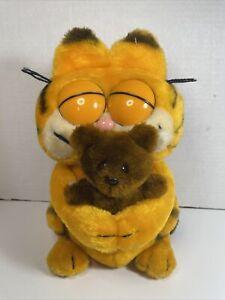 Vintage GARFIELD Eyes Closed Hugging POOKY BEAR PLUSH Stuffed Orange Cat Dakin