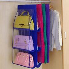 New Double Side Transparent 6 Pocket Foldable Hanging Handbag Purse Storage Bag