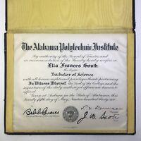 1936 Alabama Polytechnic Institute Bachelor Science Auburn Degree Diploma 1930s