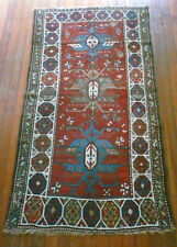 RARE  ANTIQUE CAUCASIAN GENDJE PILE RUG 1890s GREAT VEGETABLE DYES 1890'S
