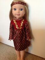 Wellie Wishers Burgundy Gold Princess Dress American Girl 14 doll clothes outfit