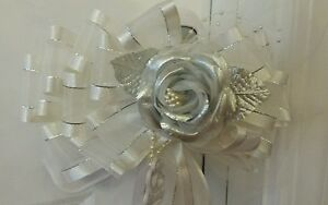 10 White Silver Wedding Pew Chair Bows Tulle Satin Tails Rose Pearls 12""