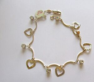Anklet - 18K Gold Plated- hearts -round clear crystals-scalloped links-10""