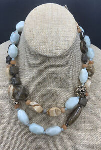 Barse First Frost Long Necklace- Mixed Stones- Bronze- New With Tags